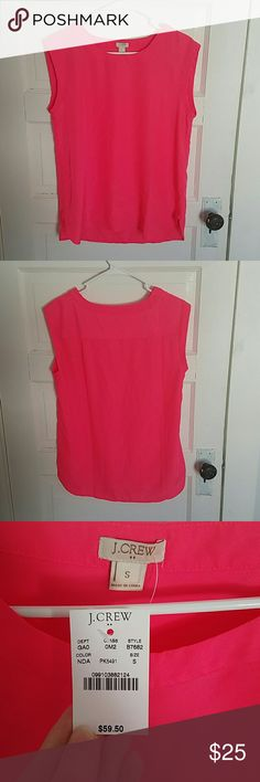 J.Crew Top Brand new with tags. Picture is more pink than the photos show. Definitely a bright bright pink. Didn't realize it was not my color when purchasing from Posh! Super cute though! Size small. Runs a little big. More like a medium but I think that's the style.  Dog friendly household. Non-smoking household. J. Crew Tops