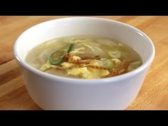 Korean Soup that Makes Your Skin Beautiful With Video .....Ingredients (for 2 servings):  2 oz (60 grams) dried shredded Poll0ck, radish, garlic, fish sauce (or salt), water, green onion, sesame oil, egg, and water