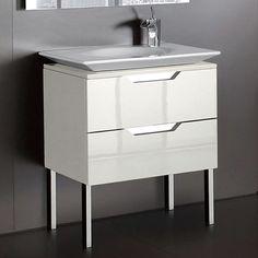 Sleek style, contemporary bathroom furniture from: Spanish brand Roca.   Kalahari-N Single Basin Unit.   #CreamGloss finish  Bathroom Basin Units from UK Bathrooms www.ukbathrooms.com
