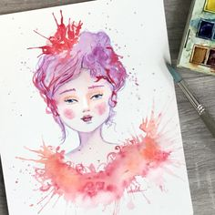 Whimsical portrait of a beautiful girl in pink and purple. Mixed media by Christy Obalek