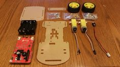 GoPiGo parts laid out on a table