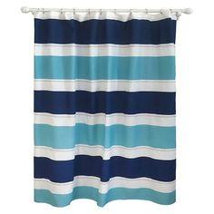 Cool Rugby Stripe Shower Curtain Blue Lake - Pillowfort™