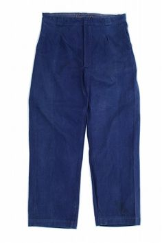 French vintage work pants/France 1950's/cotton twill/chore wear/navy blue/wide pants/340
