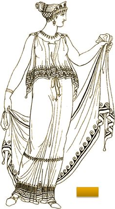 The Doric Peplos was worn with a fibula on each sholder. Ancient Greek Costumes, Ancient Greek Art, Ancient Rome, Ancient Greece Clothing, Ancient Greece Fashion, Greek History, Ancient History, Greek Chiton, Greece Costume