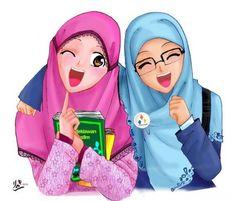 Cute and funny Hijaber Cartoons Hijabs, Hijab Barbie, Muslim Images, Wallpaper Hp, Friend Cartoon, Doodle Girl, Islam Marriage, Bff Drawings, Cartoon Sketches