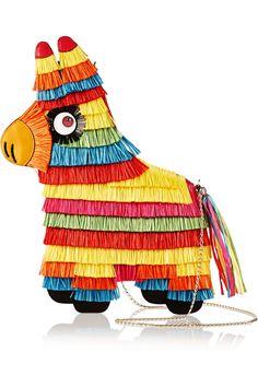 Charlotte Olympia|Piñata raffia and leather shoulder bag|NET-A-PORTER.COM