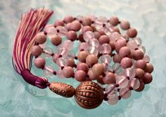 Heart Chakra Rose Quartz & Rhodonite Pink Knotted Mala Beads Unconditional love Understanding Openness Balance Forgiveness Trust Child birth