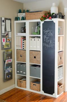 We love our family command center! It's been our organizational haven and overall family life saver for the last four years. Unfortunately, the original shelving unit has been discontinued and many of you asked how to still recreate it. Luckily there's plenty of options out there, including this, this and this(at $28 bucks it's a steel!). I'm currently loving thisone,its smaller size would fit our current needs perfectly. I'd stick to the same setup, 3 individual units, pushed…