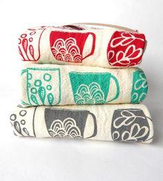 Mug Print Kitchen Towel Assortment, Set of 3 by The High Fiber on Scoutmob Shoppe