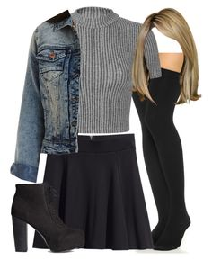 """Edgy Hanna Marin inspired outfit with thigh high socks"" by liarsstyle on Polyvore featuring Plush, H&M, Miss Selfridge, Charlotte Russe, date and mid"
