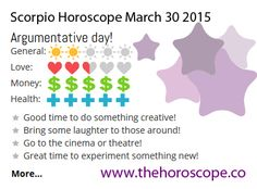 Argumentative day for #Scorpio on March 30th 2015 #horoscope … http://www.thehoroscope.co/daily-horoscope/scorpio-sign-Scorpio-Daily-Horoscope-March-30-2015-7682.html