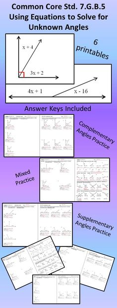 Do your students need more practice solving for missing angle measures using equations?  This product focuses on Common Core Standard 7.G.B.5 and it contains 6 worksheets with answer keys.