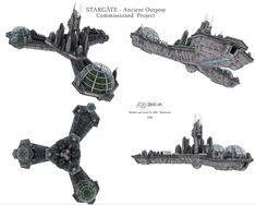 Stargate Ships, Stargate Atlantis, Relic Hunter, Sci Fi City, Spaceship Design, Stars Craft, Wow Art, Geek Culture, Star Wars Art