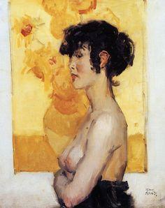 "Isaac Israëls (1865–1934) (Dutch Impressionist) Woman before ""Sunflowers"" by van Gogh : (Femme devant ""Les Tournesols"" de van Gogh) Date 1917"