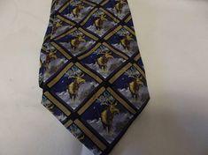 Vintage Men's Necktie  Dark Blue and Gold with Reindeer