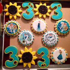 """Frozen Fever cookies for my friends party, not for sale. Designed by """"Sweetly done by Candi"""""""