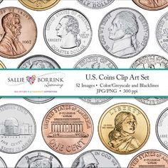 Money Clip Art includes U.S. Coins - penny, nickel, dime, quarter, half dollar and dollar. Includes color, grayscale and black/white outline. Great coin clip art for TPT sellers and teachers!