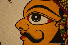 Phad Painting by Kalyan Joshi, Jkk, Jaipur Rajasthani Miniature Paintings, Indian Art Paintings, Madhubani Art, Madhubani Painting, Phad Painting, Dancing Ganesha, Rajasthani Art, Abstract Face Art, Indian Folk Art