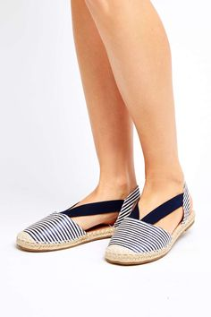 Navy Striped Espadrille #WallisEscapes