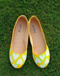 Innocence yellow hearts ballerina Handpainted shoes , unique, artsy, quirky ballerina by www.zubiya.com