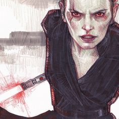 Dark Rey by Rebeca PueblaTraditional drawing of Daisy Ridley as Dark Rey (StarWars) Rey Star Wars, Star Wars Fan Art, Reylo Fanart, Ultimate Star Wars, Strong Female Characters, Daisy Ridley, Sith, Rwby, Dark Side