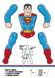 DIY für den Vatertag: Superman-Hampelman… - Top Of The World Paper Puppets, Paper Toys, Paper Crafts, Superman Crafts, Hero Crafts, Fathers Day Crafts, Jumping Jacks, Superhero Party, Paper Models