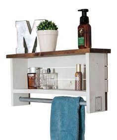 Fresh White Wood Bathroom Shelf with towel Bar