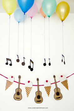 Ice cream Cones and Guitars Birthday Garland Music Theme Birthday, Jungle Theme Birthday, First Birthday Party Themes, Baby Birthday, Music Party Decorations, Birthday Decorations At Home, Party Garland, Birthday Garland, Guitar Party