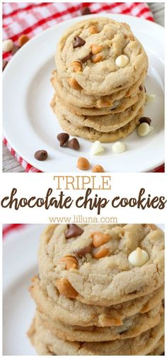 Super soft, delicious, and chewy Triple Chocolate Chip Cookies are a favorite! White, milk chocolate, and butterscotch chips combine to get the best taste. #chewytriplechocolatechipcookies #chocolatechipcookies #triplechocolatechip #cookies #chewycookies Triple Chocolate Chip Cookies, Iced Sugar Cookies, Sugar Cookies Recipe, Chocolate Chips, Cookie Desserts, Fun Desserts, Dessert Recipes, Best Cookie Recipes, Sweet Recipes