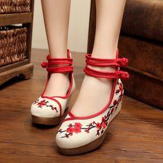 1845592db4 Plum flor bordado mulheres bombas mary janes estilo chinês dentro aumentou  5 cm pano sapatos de sola macia smyxhx 10019 em Bombas das mulheres de  Sapatos no ...
