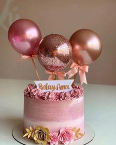 No photo description available. Birthday Cake Roses, Elegant Birthday Cakes, Bithday Cake, Birthday Cakes For Women, 18th Birthday Party, Birthday Cake Girls, Birthday Cake Decorating, Birthday Party Decorations, Balloon Cake