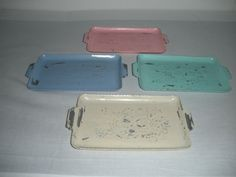 Cottage Chic Vintage Metal Trays  Painted and by AtticJoys1, $18.99