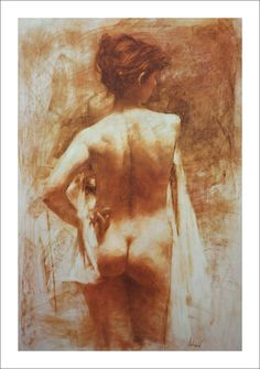 Richard Schmid | Standing Nude Lithograph By Richard Schmid