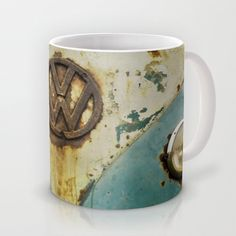 VW Rusty Mug - $15.00 Available in 11 and 15 ounce sizes, featuring wrap-around art and large handles. Dishwasher and microwave safe. #mugs #coffee #cup #VW #Campervan #Volkswagen #Retro #Rust