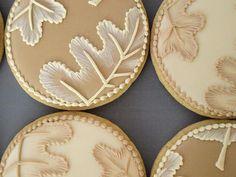 Brush Embroidered Autumn Leaves - Set of 6 Orange Vanilla Spice Cookies. At Sweet Ambs