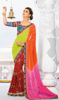Orange, Lime Green and Red Faux Georgette Saree Price: Usa Dollar $98, British UK Pound £58, Euro73, Canada CA$106 , Indian Rs5292.