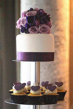 purple cake! Use tiered cake stand and combine cakes w/ cupcakes!
