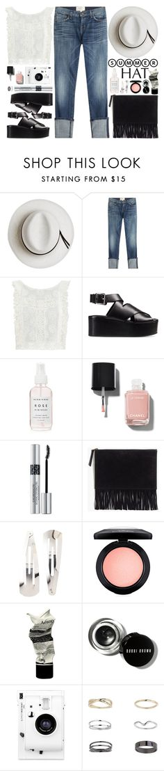 """Summer hat"" by blueberrylexie ❤ liked on Polyvore featuring Calypso Private Label, Current/Elliott, MINKPINK, Alexander Wang, Chanel, Christian Dior, Madewell, Adia Kibur, MAC Cosmetics and Aesop"