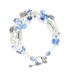 "Laura Gibson Kyanite 3 Strand Bracelet - Sterling Silver and Kyanite Bracelet, 7"""