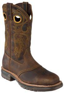 Rocky® Men's Dark Distressed Brown Saddle Vamp Square Steel Toe Work Western Boots   Cavender's