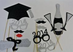 Graduation 2014  Photo-Booth party props school graduation 2014 glasses graduation cap Champagne Bottle  Diploma and 2014 Glasses
