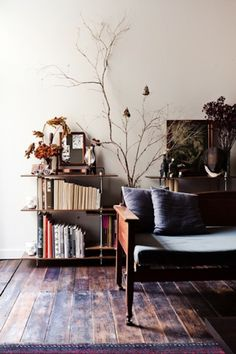 Love the Simple seating - couch with hard wood arms