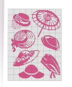 point de croix chapeaux roses - cross stitch pink hats