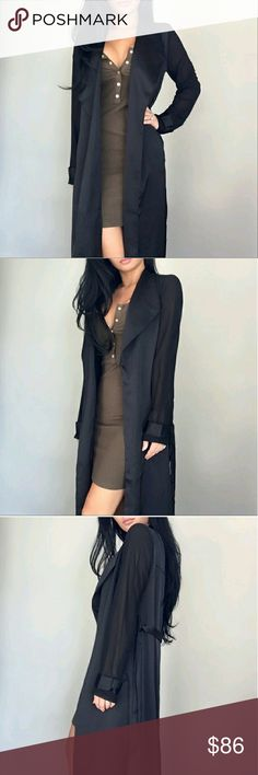 NWT Coryn Black Long Silky Duster Sheer Sleeve S Pictures from @itselaine. Brand new never worn. Only selling because I'm clearing house. NO TRADES PLEASE DON'T ASK ME! ekattire Jackets & Coats