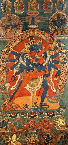 Tibetan Buddhist Thangka detail of Chakrasamvara & Vajravarahi Yab Yum