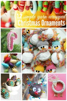 12 Handmade yarn wrapped Christmas Ornaments ~ simple String Ornaments kids can make