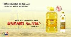 Buy #Borges #Canola #Oil 5LT Jar & Get 1 Ltr Worth Rs.500 Free. Get Free Shipping, Pay COD, Easy Return.