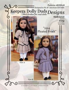 """PDF Pattern KDD08 """"1914 Pleated Frock"""" -An Original KeepersDollyDuds Design, 18"""" Doll Clothes Fit American Girl"""