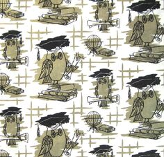 Vintage OWL Wrapping Paper Graduation NOS New Old Stock