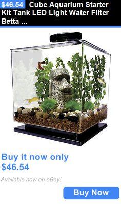Animals Fish And Aquariums: Cube Aquarium Starter Kit Tank Led Light Water Filter Betta Goldfish Small Fish BUY IT NOW ONLY: $46.54